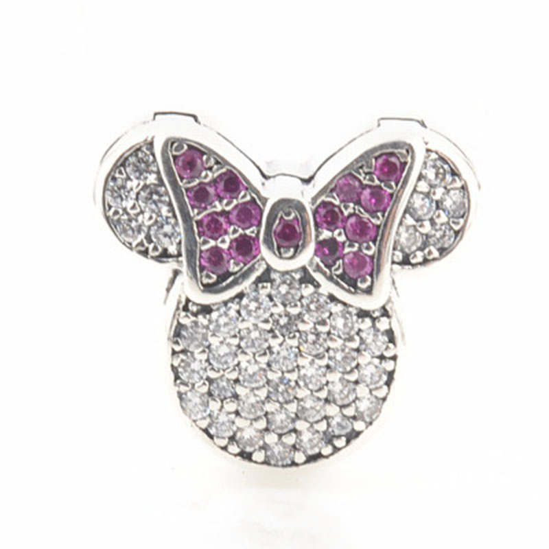Authentic 925 Silver Red CZ Bow Minnie Clip Beads Fit Original Charms Bracelets 925 Silver DIY Jewelry Making for Women