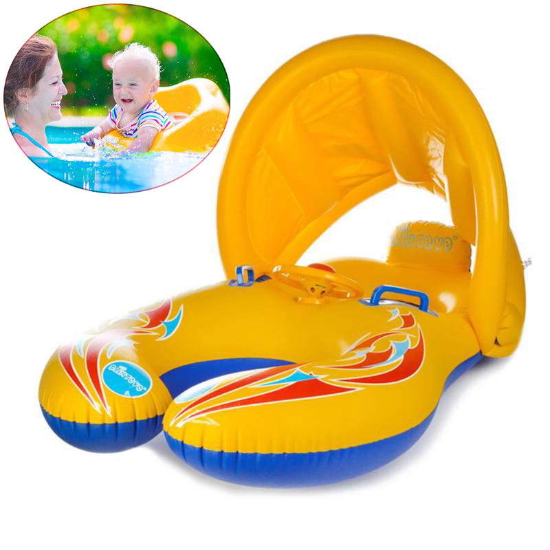 Inflatable Baby Pool Float Neck Ring With Subshade Mother Children Swim Circle Inflatable Safety Swimming Ring Float Seat