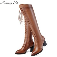 Krazing Pot Cow Leather Streetwear Pointed Toe High Heels Lace Up Keep Warm Winter Boots European