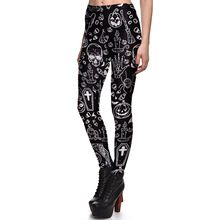 New Arrival 3760 Sexy Girl Halloween Black ghost Skull Bat Cross Printed Elastic Fitness Polyester Workout