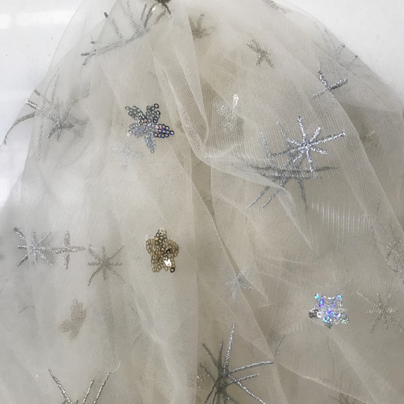1 Meter lot Width 130cm Hot Stamping Star Tulle Fabric Glitter Mesh Organza  for Dress Party Skirts Wedding Decoration Material-in Fabric from Home    Garden ... 27f5a160dcd2