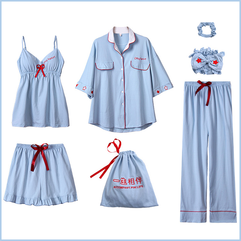 7pcs/set Women 100% Cotton Pajamas Set 7 Pieces Solid Long Sleeves Sleepwear Nightwear For Ladies Spring Pijama Pyjamas Femme