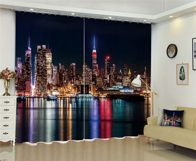 City Night Scene Window Blackout Luxury 3D Curtains Set For Bed Room Living Office Hotel Home Wall Decorative Drape Tapestr