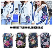 Fashion Small Shoulder Hand Bag Print Women Mobile Phone Messenger Crossbody Nylon Waterproof Sports Running Arm Wrist Bags