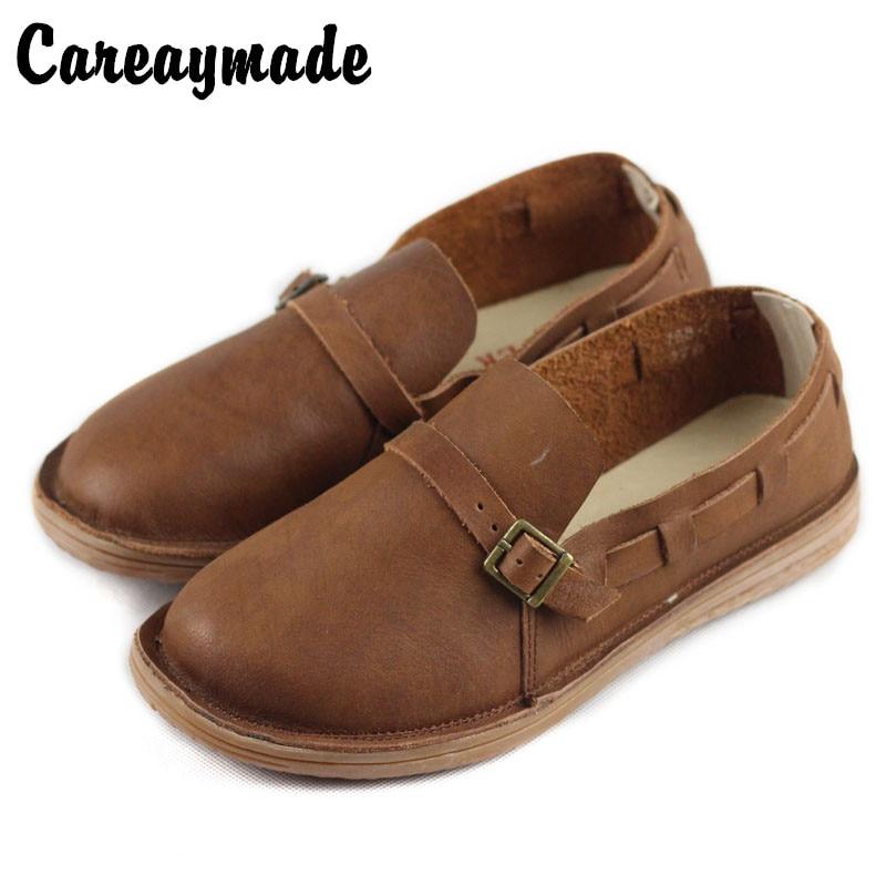 Careaymade-Genuine leather Fltas shoes women's retro literary artistic single-shoe  spring&autumn Handmade leisure shoes,2 color