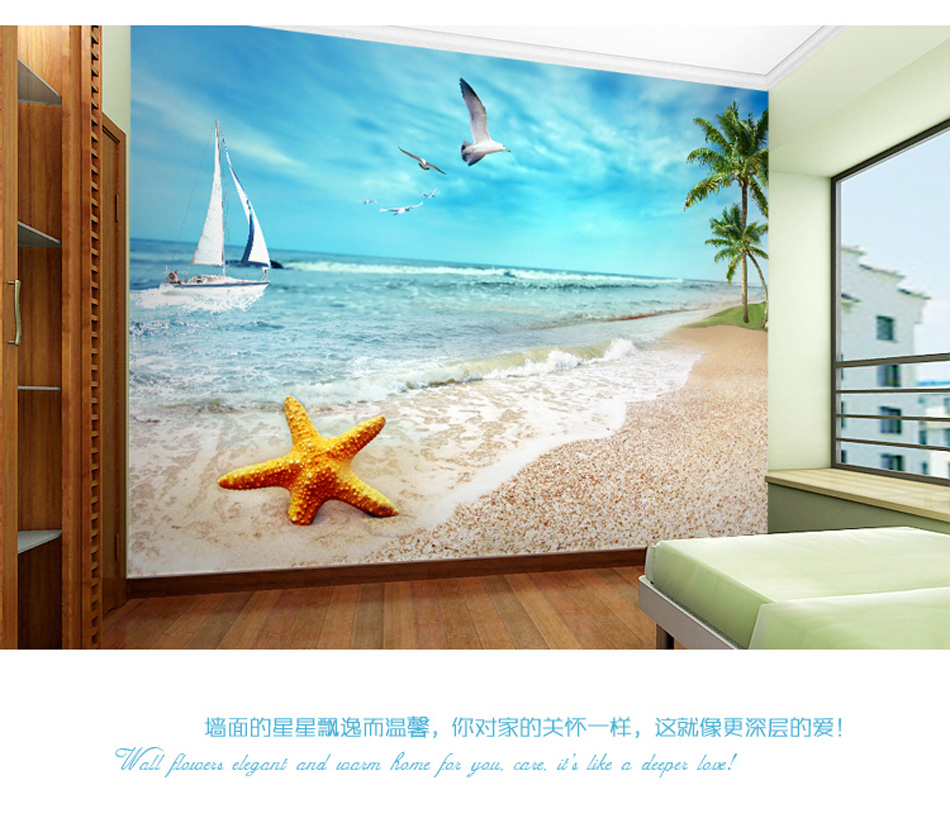 Seaside starfish coastal beach wallpaper mural rolls 3d for Beach mural wallpaper