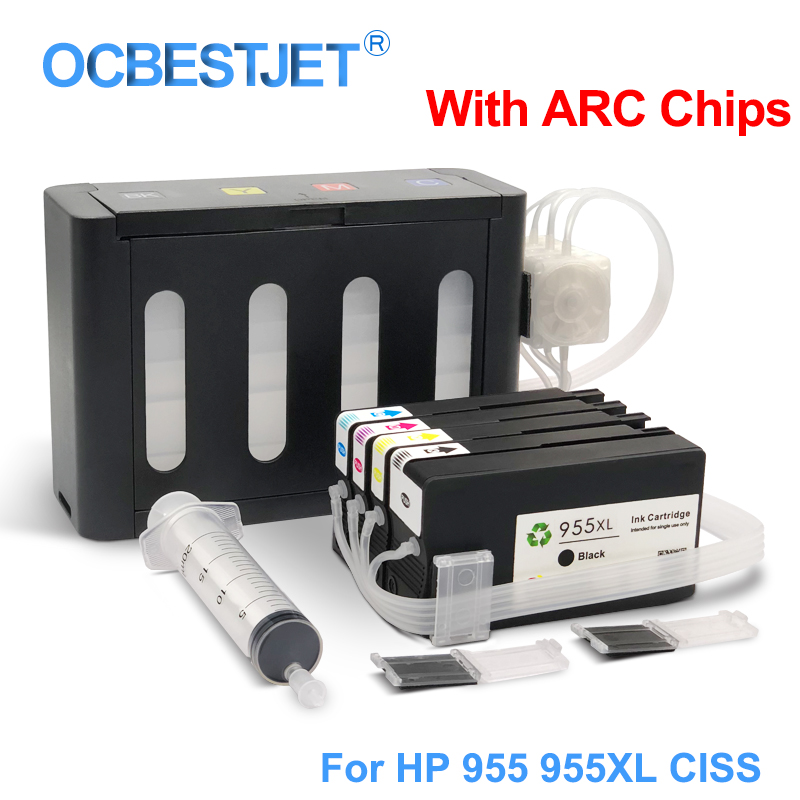 Pour HP 955XL 955 XL CISS Système D'alimentation D'encre En Continu Pour HP Officejet Pro 7740 8730 8740 8735 8715 8720 8725 Avec Des Puces ARC