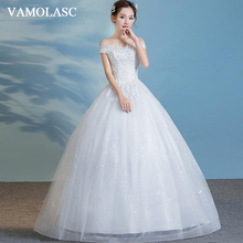VAMOLASC Ball Gown Crystal Boat Neck Lace Appliques Wedding Dresses Off The Shoulder Pearls Backless Bridal Gowns