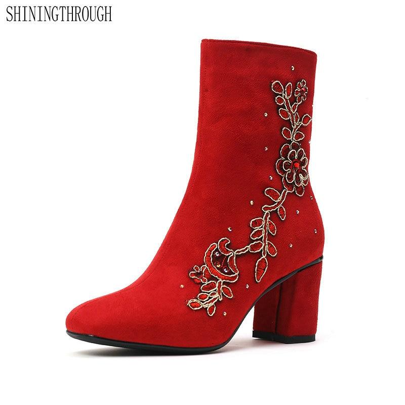 Ayakk.'ten Ayak Bileği Çizmeler'de Kadınlar düğün çizmeler kadın yüksek topuklu yarım çizmeler kırmızı çiçek bayanlar ayakkabı kadın sonbahar kış çizmeler büyük boy 43'da  Grup 1