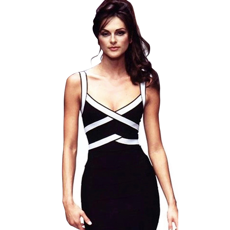 Deavogy 2019 New Luxury Women strap V neck backless Sexy Evening Party bandage Dress Club Vestido