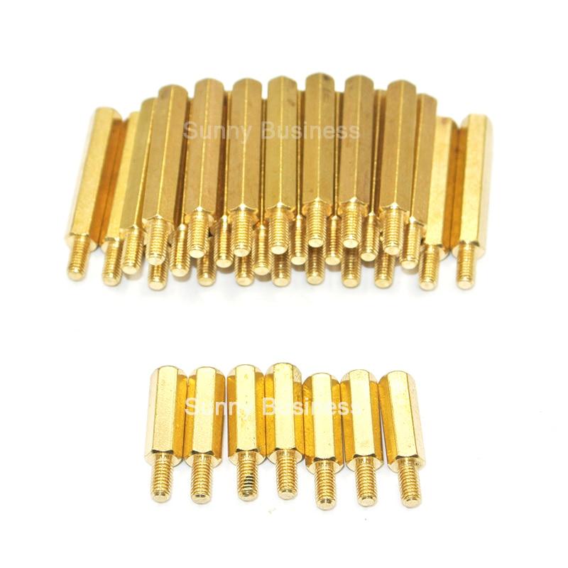1000Pcs M3*11+6mm Hex Nut Spacing Screw Brass Threaded Pillar Standoff Spacer