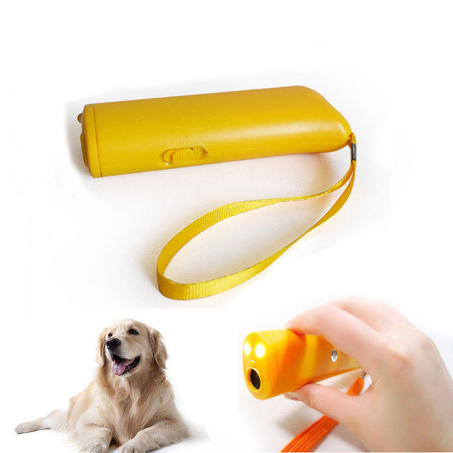 Pet Dog Repeller Anti Barking Training Device LED Ultrasonic 3 in 1 Stop Bark Trainer Without Battery