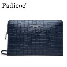Padieoe Luxury Crocodile Pattern Men's Genuine Leather Men Clutch Bag Purses Fashion Cowhide Wallet Business Man Handbags