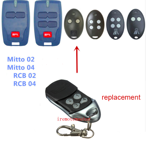 BFT Mitto 02, 04 RCB02 RCB04 remote control replacement 433mhz rolling code motorlift replacement remote control 94334e 433mhz rolling code
