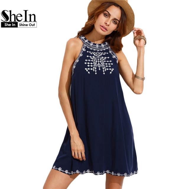 SheIn Mulheres Verão Casual Vestidos Curtos Senhoras Marinha Bordado Cortar Laço de Volta Em Torno Do Pescoço Vestido Sem Mangas Mudança