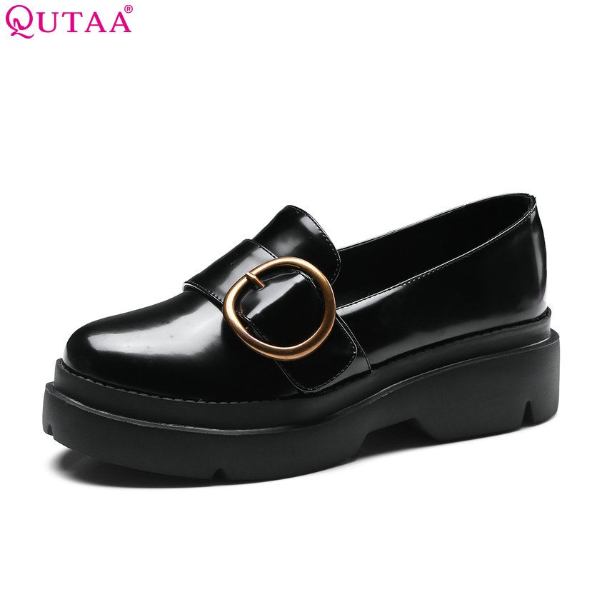 QUTAA 2018 Women Pumps Round Toe Fashion Women Shoes Slip on Buckle Casual Platform Synthetic Leather Women Pumps Size 34-40 nayiduyun women genuine leather wedge high heel pumps platform creepers round toe slip on casual shoes boots wedge sneakers