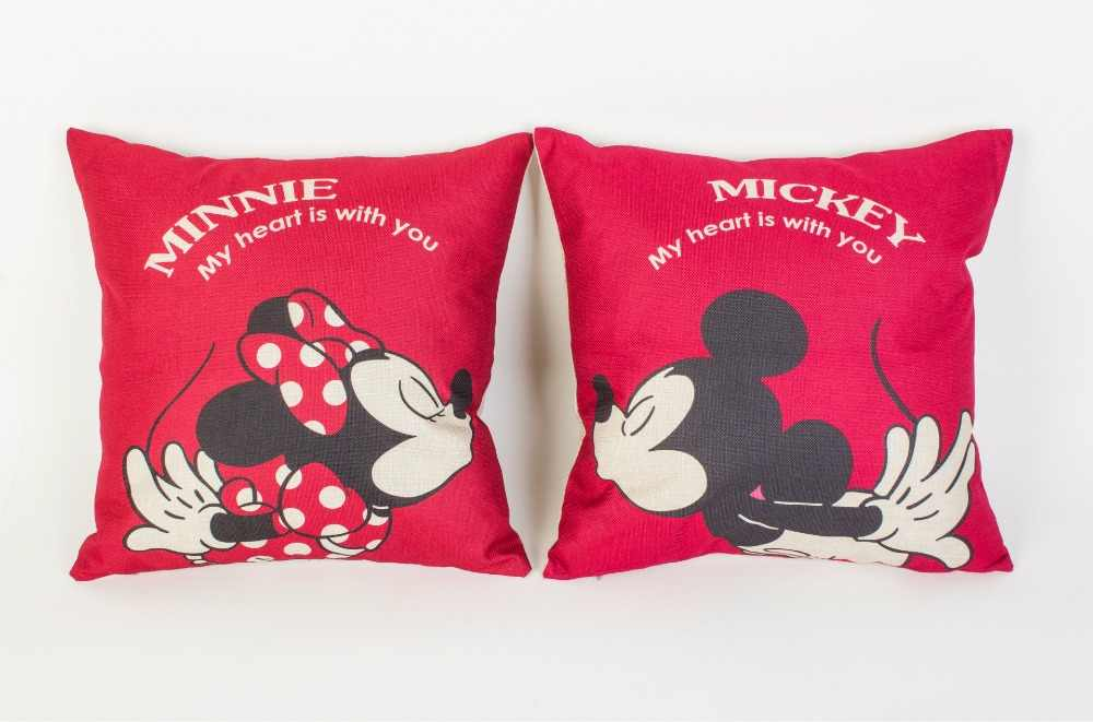 1 paar Mickey & Minnie Mickey Mouse cartoon Linnen kussensloop kussen bed kussen door kussensloop 45x45 cm