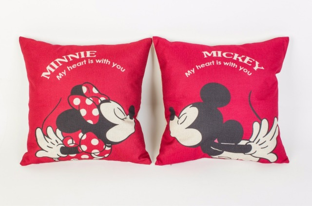 1 pair Mickey & Minnie Mickey Mouse del fumetto di Lino cuscino copertura del cu