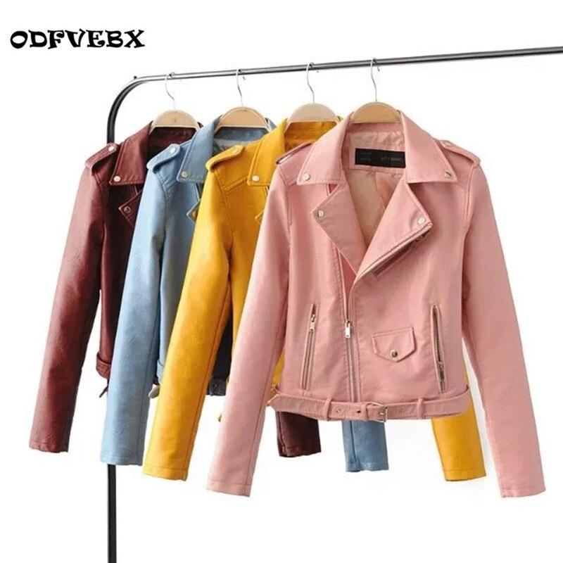 New Autumn Fashion Street Women's Short Washed PU   Leather   Jacket Zipper Bright Colors Ladies Basic Female Jackets Good Quality