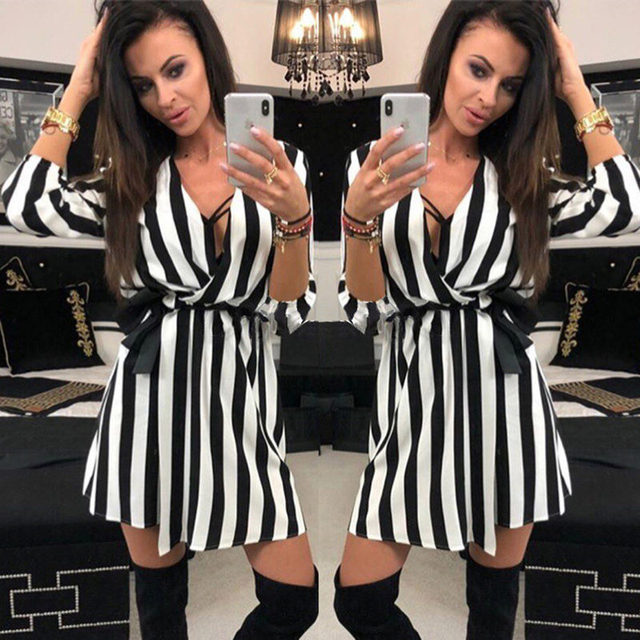 01388cae389bd Women Sexy Black White Striped Summer Dress 2018 Casual Three Quarter Sleeve  V Neck Loose Dresses Ladies Beach Dress Plus Size