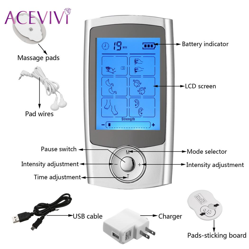 Pain Tens Unit with 16 Modes and 8 Pads Pulse Impulse Rechargeable Relief Massager soft laser healthy natural product pain relief system home lasers