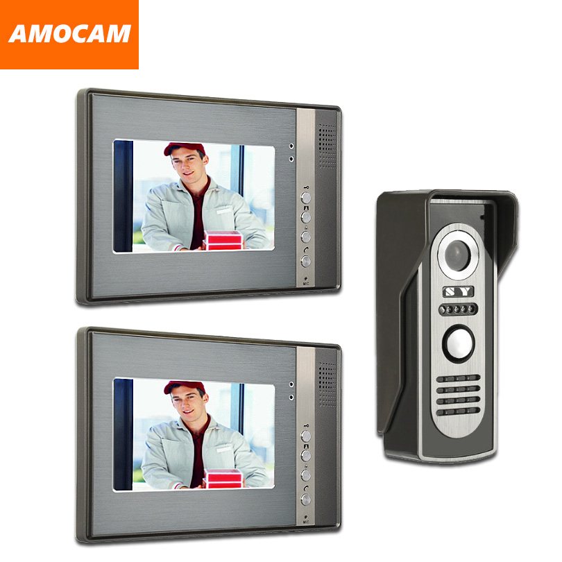 7 LCD Video Door Phone System 2 Monitor Video Intercom Aluminum Alloy Door Camera Video Doorbell Home Video Doorphone kit yobang security video doorphone camera outdoor doorphone camera lcd monitor video door phone door intercom system doorbell