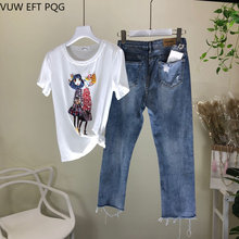 Beaded sequins hole loose casual retro denim pants + short-sleeved T-shirt round neck cotton T-shirt two pcs suit women(China)