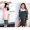 chifave 2016 New Autumn Kids Girls Casual Sweatshirt Dress O-neck Collar Long Sleeve Baby Clothes Girls Solid 2 Colors Kids Suit