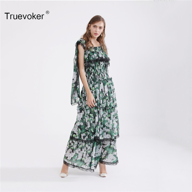 Truevoker Europe Summer Designer Maxi Party Dress Women s Multicolor Floral  Printed Lace Patchwork Ruffle Layer Strap Dress 70cd0f90cb39