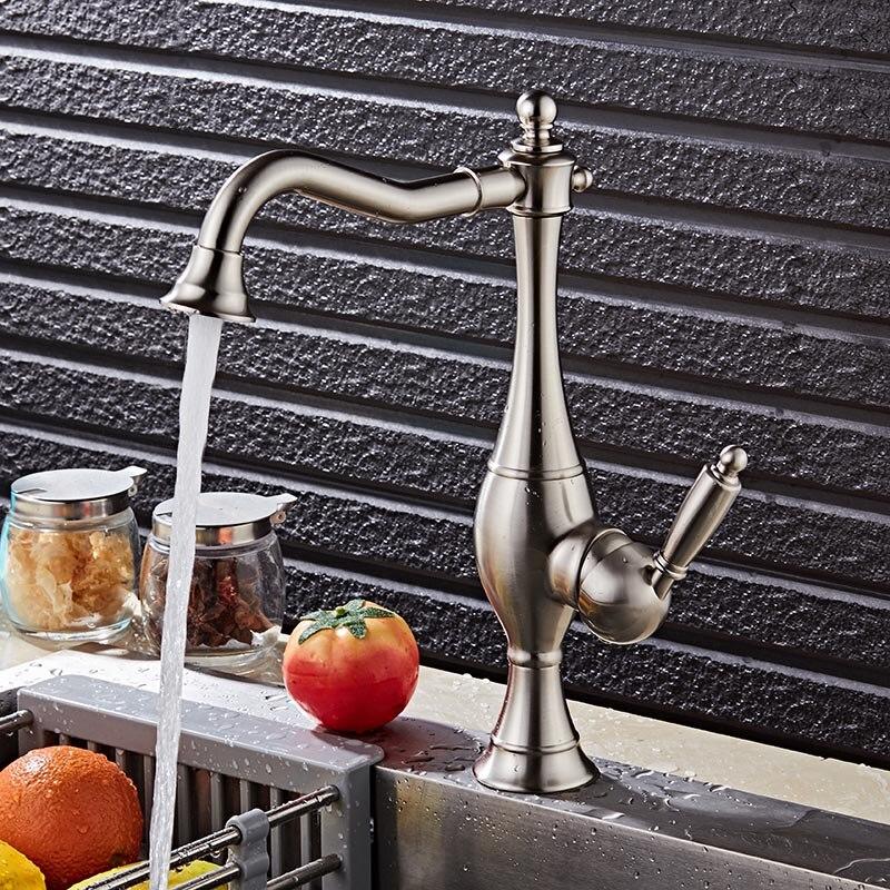 Bathroom Basin Faucet Nickel or Gold Sink Faucet Brass Swivel Single Handle Kitchen Faucet Bathroom Basin