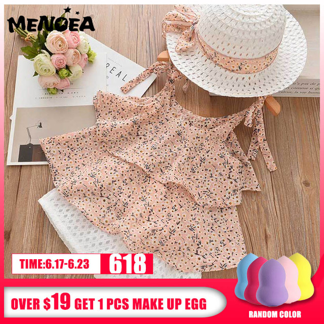 Menoea Girls Clothing Sets Summer Casual Print Kids Clothing Sets Sleeveless Chiffon T-shirt+Shorts 2PCS New Children Girls Suit