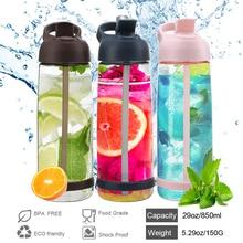 850ML Солома Тип Спорта на открытом воздухе Вода Бутылка Охрана окружающей среды и легко переносить Устойчивость к утечке Портативная бутылка воды