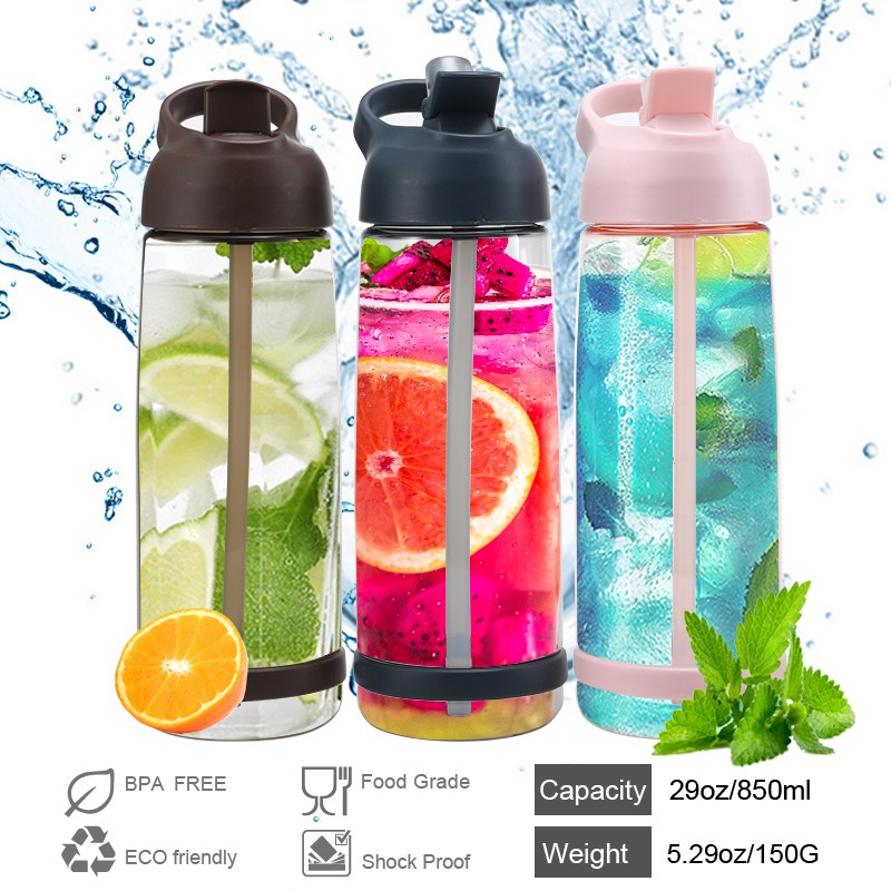 850ML Straw Type Outdoor Sports Water Bottle Environmental Protection and Easy to Carry Leak-proof Portable Water Bottle