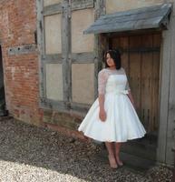 Real Ivory Lace Satin Half Sleeves Plus Size VintageTea Length Wedding Dress Boat Neck 50s Informal