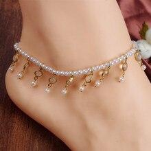 White Simulated-pearl Anklet Beads Leg Bracelet Foot Jewelry Ankle Bracelets Women Enkelbandje Tornozeleira Pulseras Tobilleras