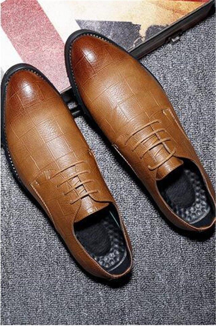 Dedo Retro Hombres Boda Cuadros Moda Ocasionales Redondo De Negocio Líneas Pie Zapatos Vestido Del Cordón Cuero A Los wI0ntqU