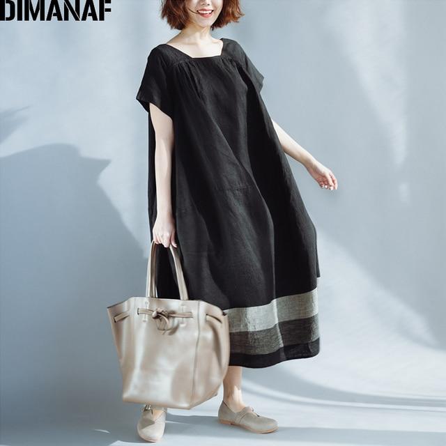 DIMANAF Women Summer Dress Plus Size Linen Vintage Black Female Vestidos Casual Clothing Loose Oversize 2018 Sundress Long Dress 1