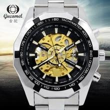 2016 Top Marca de Luxo Esporte Designer Moldura de Ouro Skeleton Mechanical Assista Men Militar Relógio de Aço Inoxidável relógios de Pulso G043