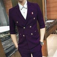 Burgundy Short Sleeve Suit 2018 New Summer Smoking Masculino Costumer Homme Marriage Vestito Uomo Smoking 8colors