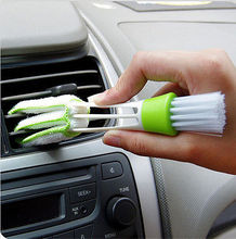 New Qualifie double Head Car Air-condition Brush Keyboard Dust Collector Window Leave Blinds Cleaner Duster Computer Clean Tools