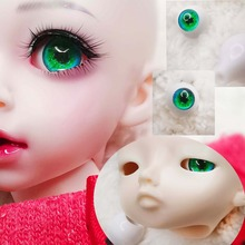 Пара 12 мм 14 мм 22 мм; ручная работа; зеленые блеск eyeprint 3d твердый пластиковый BJD глаза глазного яблока акрил BJD глаза для 1/3 1/4 1/6 sd MS кукла