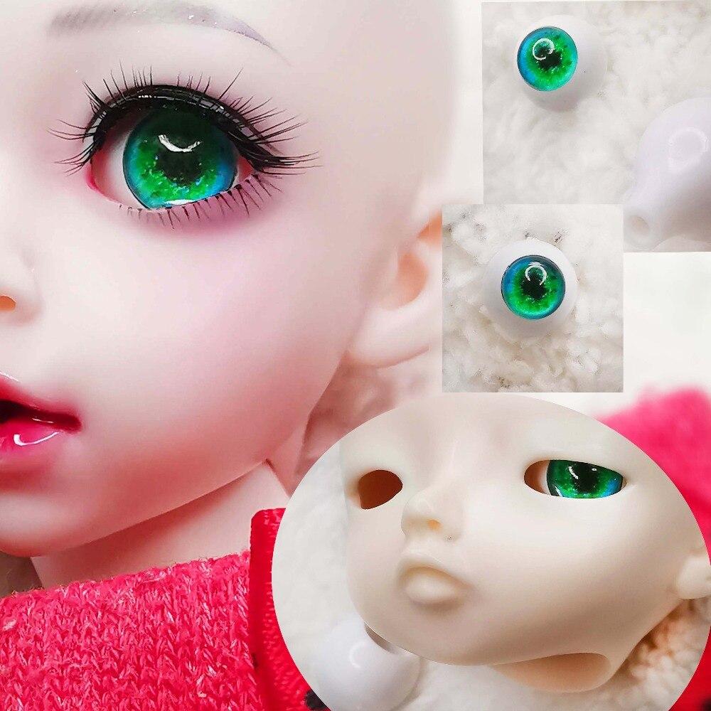 Pair 12mm 14mm  22mm Handmade Green Shine Eyeprint 3d Solid Plastic BJD Eyes Eyeball Acrylic BJD Eyes For 1/3 1/4 1/6 Sd Ms Doll