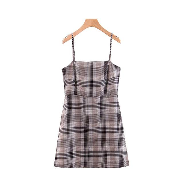 Women Plaid Sleeveless Mini...