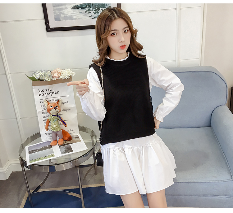 New Fashion Cute Casual Women dress Knitting Vest + Dresses Black 055