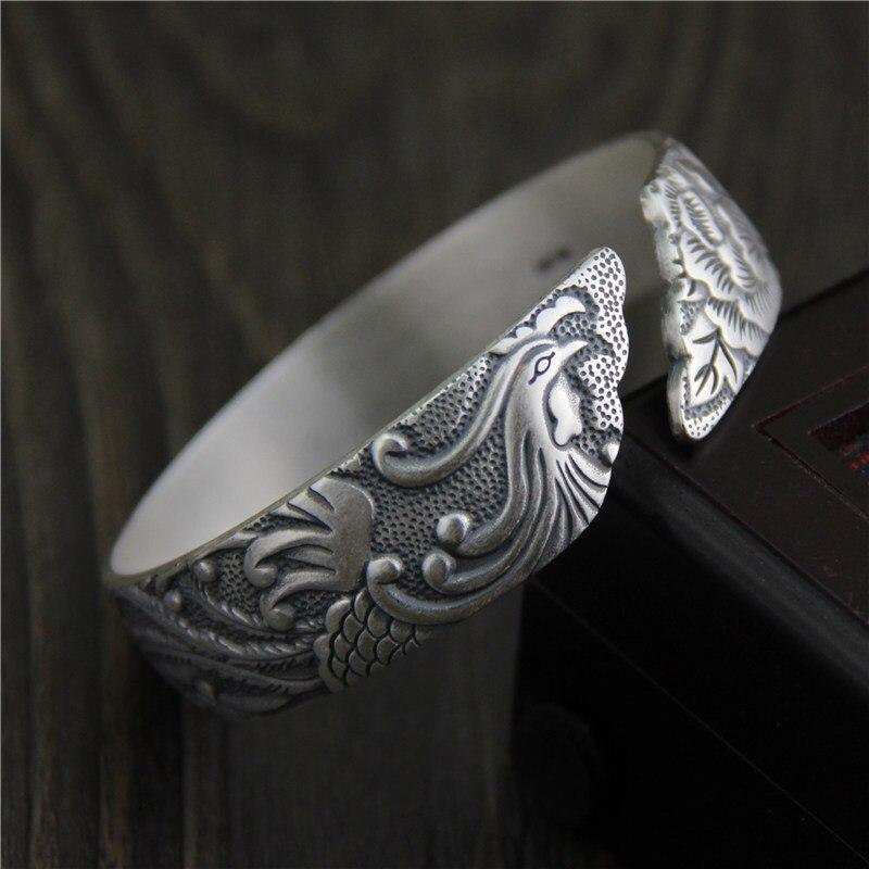 Bracelets en argent Sterling Thai 925 éthiques Bracelets Antique taille ouverte sculpté paon pivoine large manchette bracelet S925 bijoux