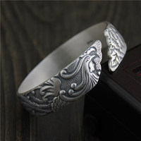 Ethical style 925 sterling Thai silver bracelets & bangles antique open size carved peacock peony wide cuff bangle jewelry