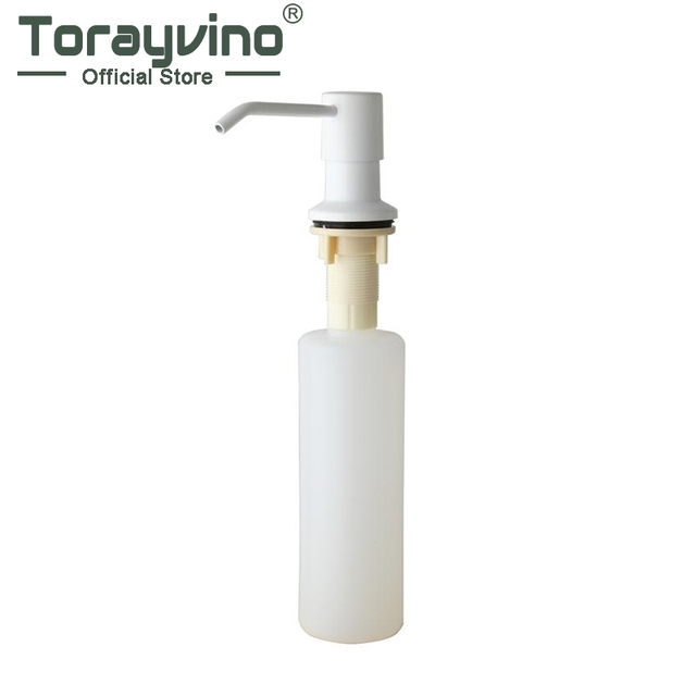Torayvino Soap Dispenser Kitchen Sink Deck Mounted Soap Dispenser Plastic  White Painting Soap Dispenser 5155W
