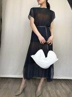Складной неоновый изменение с короткими рукавами + двойной с эластичной талией комплект с юбкой. miyake плиссированные костюм Бесплатная дост