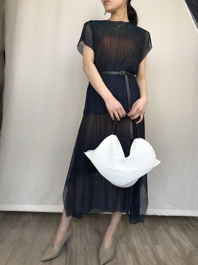 Pliage neon changeant à manches courtes + double taille élastique jupe ensemble. miyake costume plissé livraison gratuite