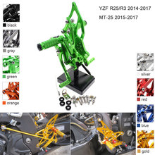 цена на CNC Aluminum Adjustable Rearsets For Yamaha YZF R25 R3 MT25 2014-2017 Foot Pegs YZF-R25 YZF-R3 MT-25